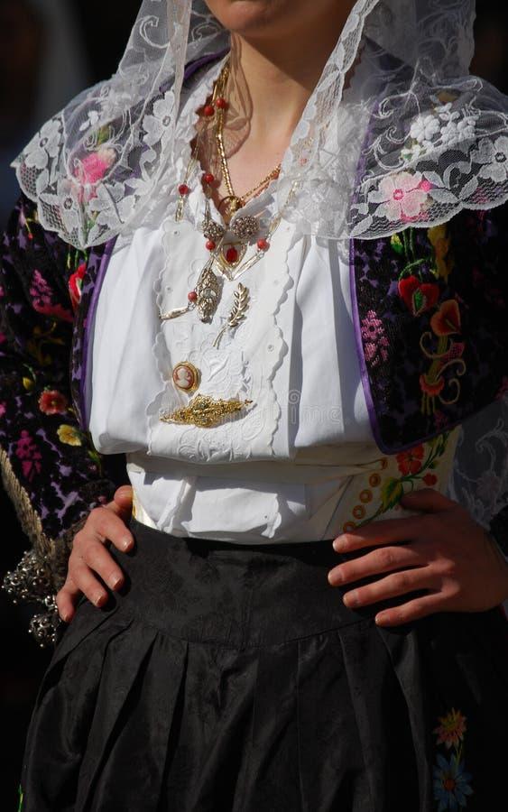 Mensen van Sardinige - kostuum van Siligo royalty-vrije stock fotografie