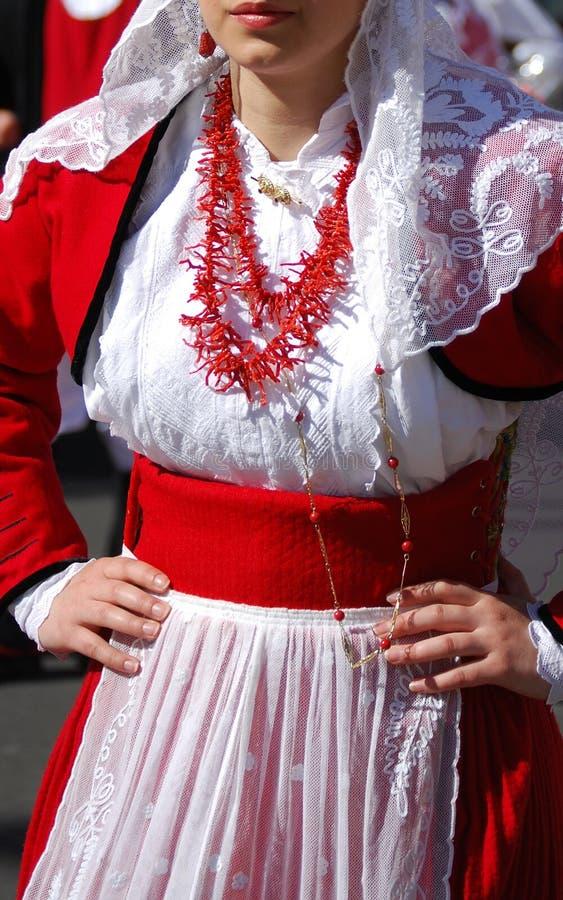 Mensen van Sardinige - kostuum van Villanova Monteleone royalty-vrije stock foto's