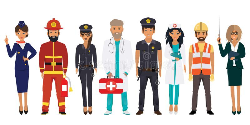 Mensen van verschillende beroepen die op een witte achtergrond worden geplaatst royalty-vrije illustratie
