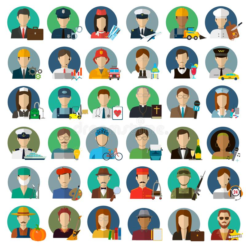 Mensen van verschillende beroepen Geplaatste de pictogrammen van beroepen Vlak Ontwerp Vector vector illustratie