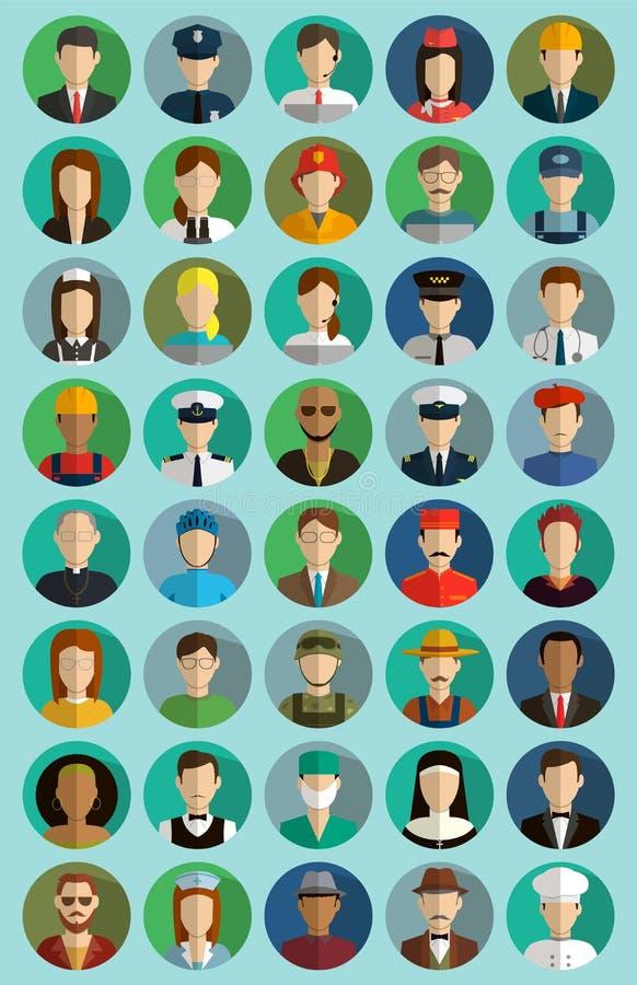 Mensen van verschillende beroepen Geplaatste de pictogrammen van beroepen Vlak Ontwerp Vector royalty-vrije illustratie