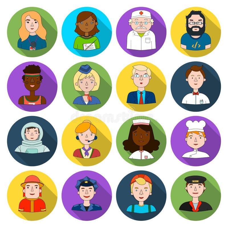 Mensen van verschillende beroeps vastgestelde pictogrammen in vlakke stijl Grote inzameling van mensen van verschillend beroeps v vector illustratie