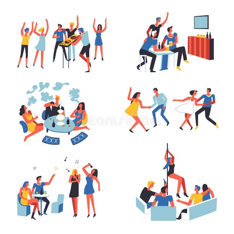 Mensen vectorpartij, karaoke en stripteaseclub royalty-vrije illustratie
