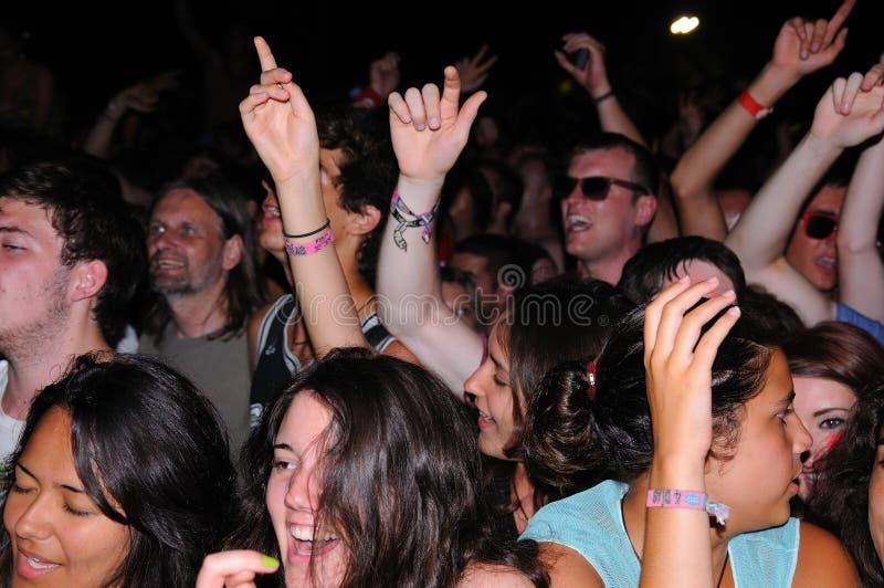Mensen (ventilators) bij FIB (Festival Internacional DE Benicassim) 2013 Festival stock foto's