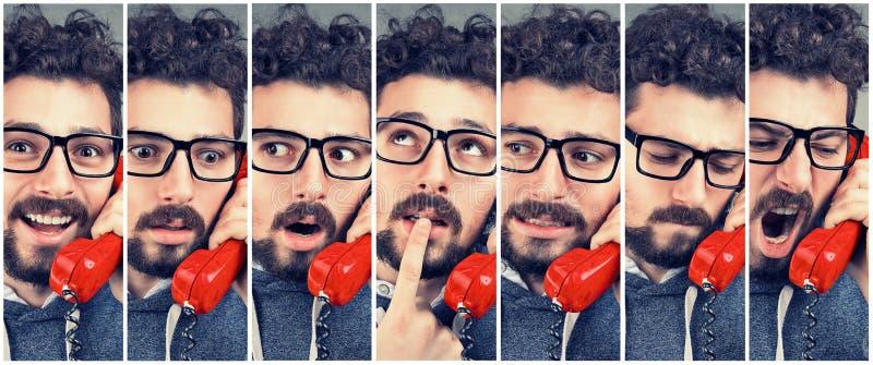 Mensen veranderende emoties van gelukkig tot boos terwijl het beantwoorden van de telefoon stock foto