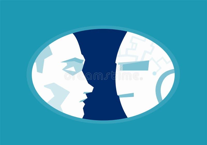 Mensen versus Robots Virtuele vlakke de stijlvector van de werkelijkheidsillustratie vector illustratie