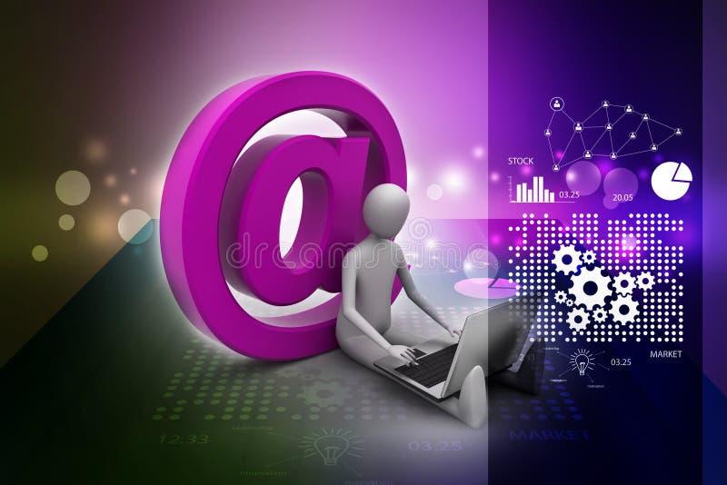 Mensen werkende laptop met e-mailsymbool stock illustratie