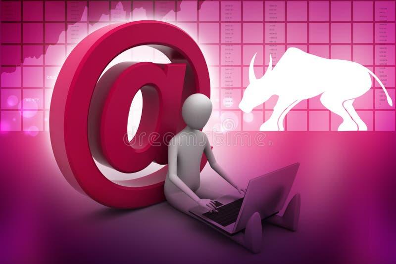 Mensen werkende laptop met e-mailsymbool vector illustratie