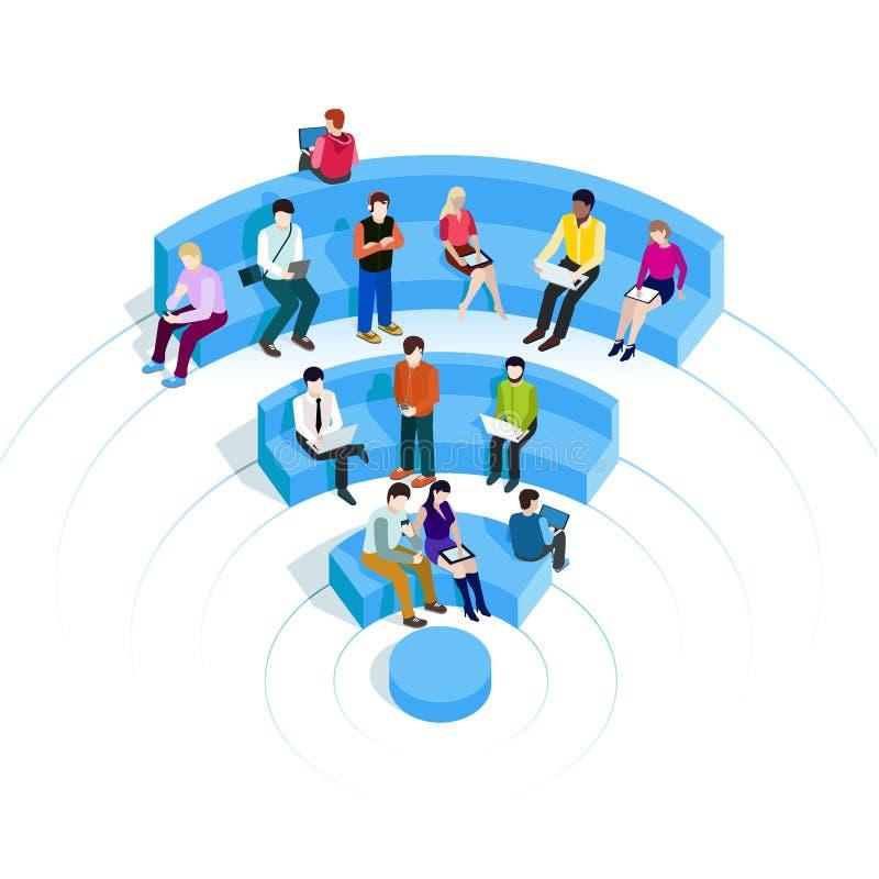 Mensen in WiFi-streek royalty-vrije illustratie
