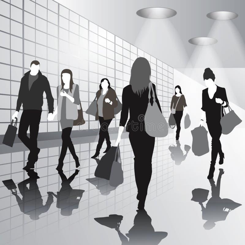 Mensen in winkelcentrum stock illustratie