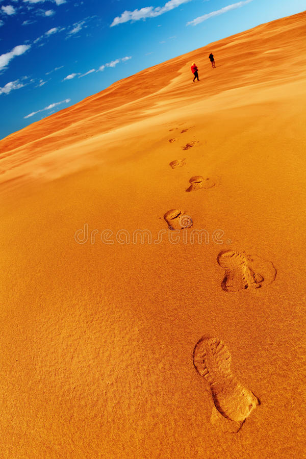 Mensen in woestijn royalty-vrije stock afbeeldingen