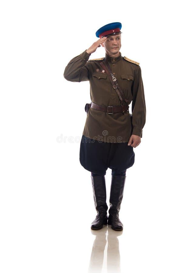 Mensenacteur in de vorm van een ambtenaar kapiteinsPeople ` s Intendance van Interne Zaken van Rusland van de periode 1943-1945 royalty-vrije stock afbeelding