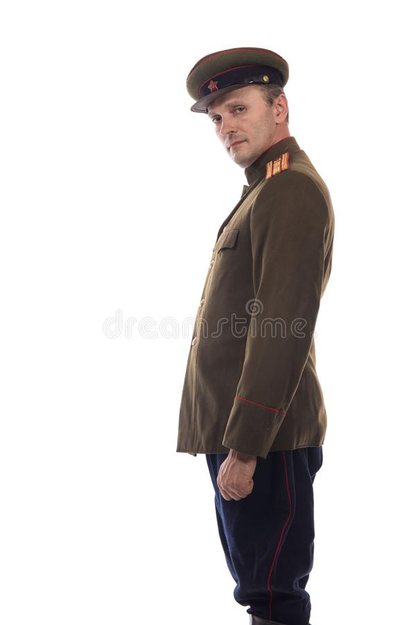 Mensenacteur in de vorm van een ambtenaar kapiteinsPeople ` s Intendance van Interne Zaken van Rusland van de periode 1943-1945 royalty-vrije stock foto