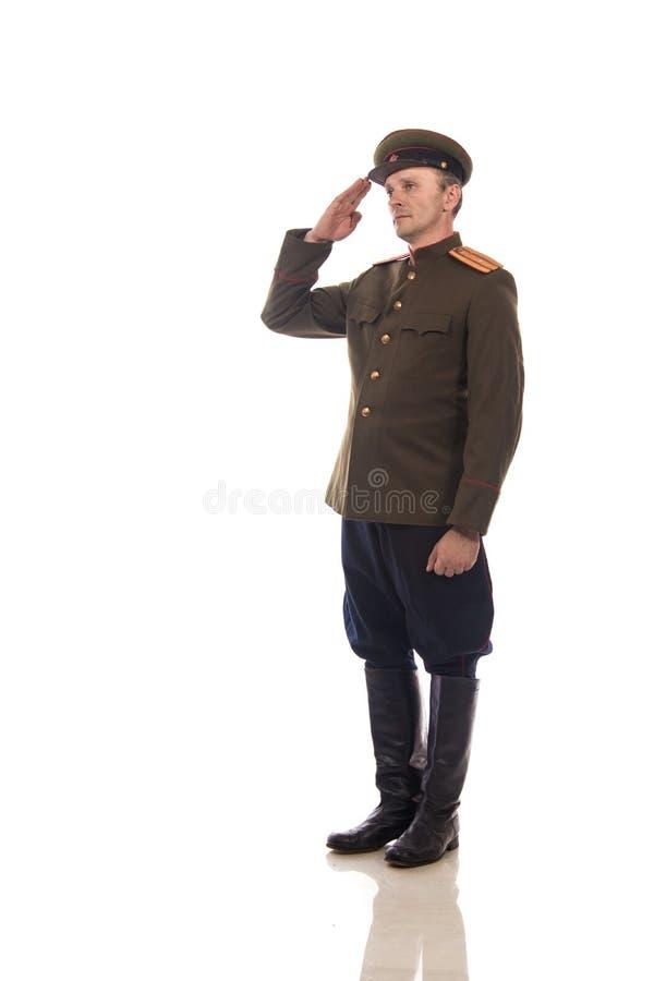 Mensenacteur in de vorm van een ambtenaar kapiteinsPeople ` s Intendance van Interne Zaken van Rusland van de periode 1943-1945 stock afbeeldingen