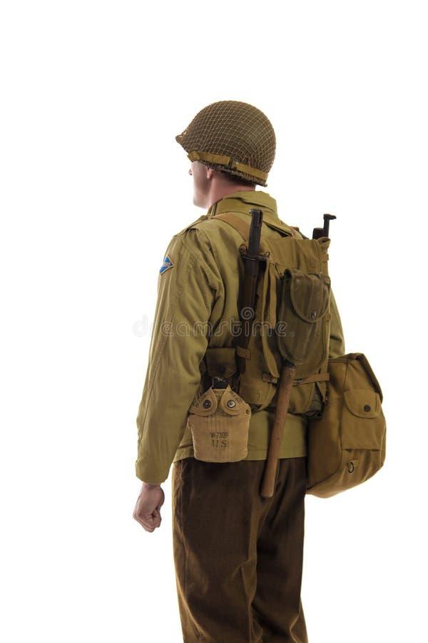 Mensenacteur in militaire eenvormig van Amerikaanse boswachter van Wereldoorlog IIperiode royalty-vrije stock fotografie