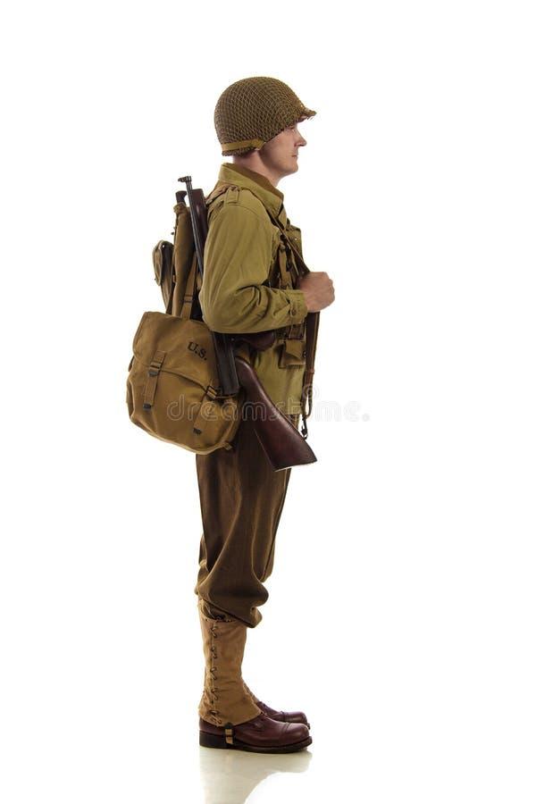 Mensenacteur in militaire eenvormig van Amerikaanse boswachter van Wereldoorlog IIperiode stock foto's