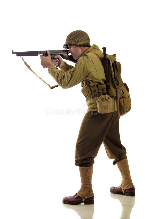Mensenacteur in militaire eenvormig van Amerikaanse boswachter van Wereldoorlog IIperiode stock foto
