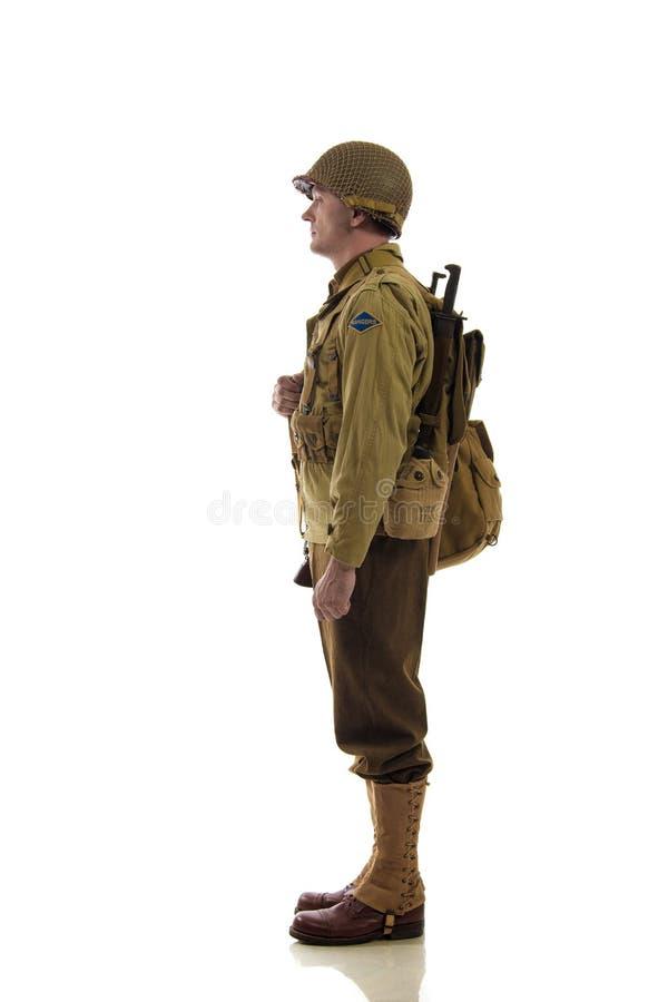 Mensenacteur in militaire eenvormig van Amerikaanse boswachter van Wereldoorlog IIperiode royalty-vrije stock afbeeldingen