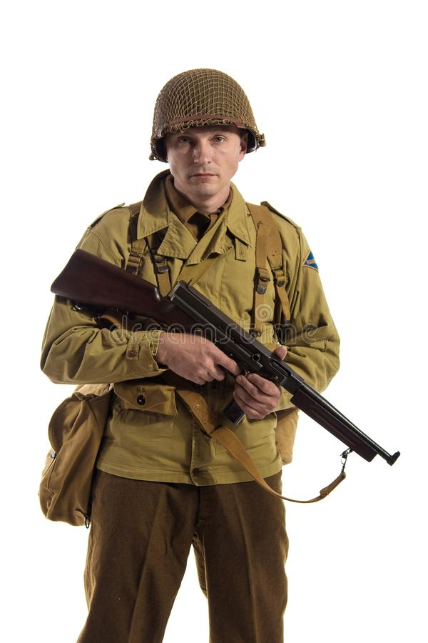 Mensenacteur in militaire eenvormig van Amerikaanse boswachter van Wereldoorlog IIperiode royalty-vrije stock foto's