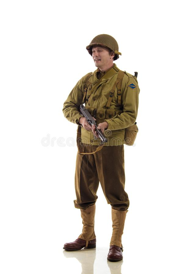 Mensenacteur in militaire eenvormig van Amerikaanse boswachter van Wereldoorlog IIperiode stock afbeelding