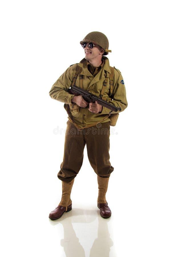 Mensenacteur in militaire eenvormig van Amerikaanse boswachter van Wereldoorlog IIperiode stock afbeeldingen