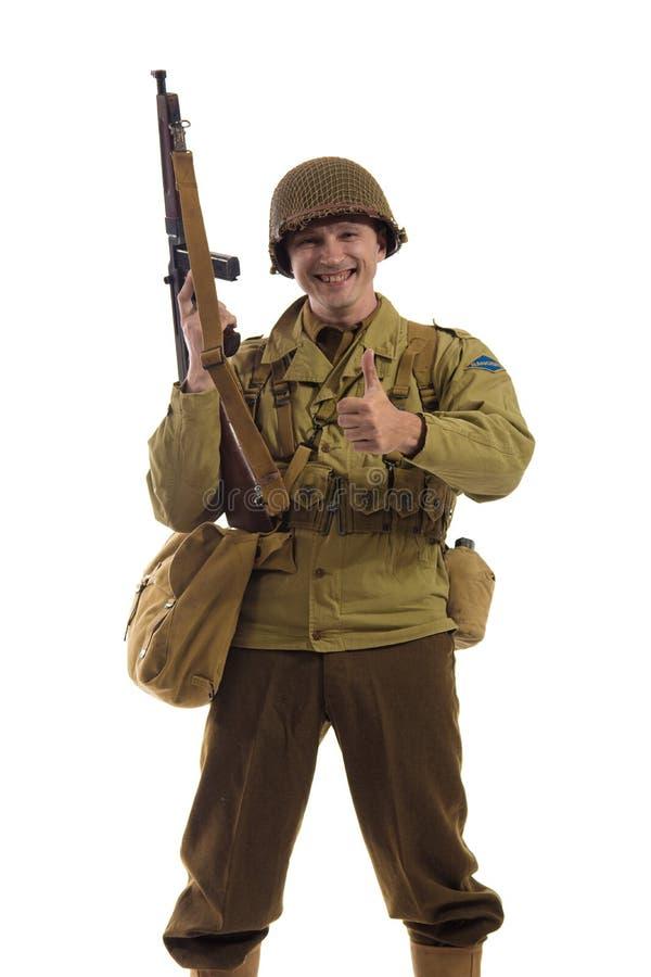 Mensenacteur in militaire eenvormig van Amerikaanse boswachter van Wereldoorlog IIperiode stock fotografie
