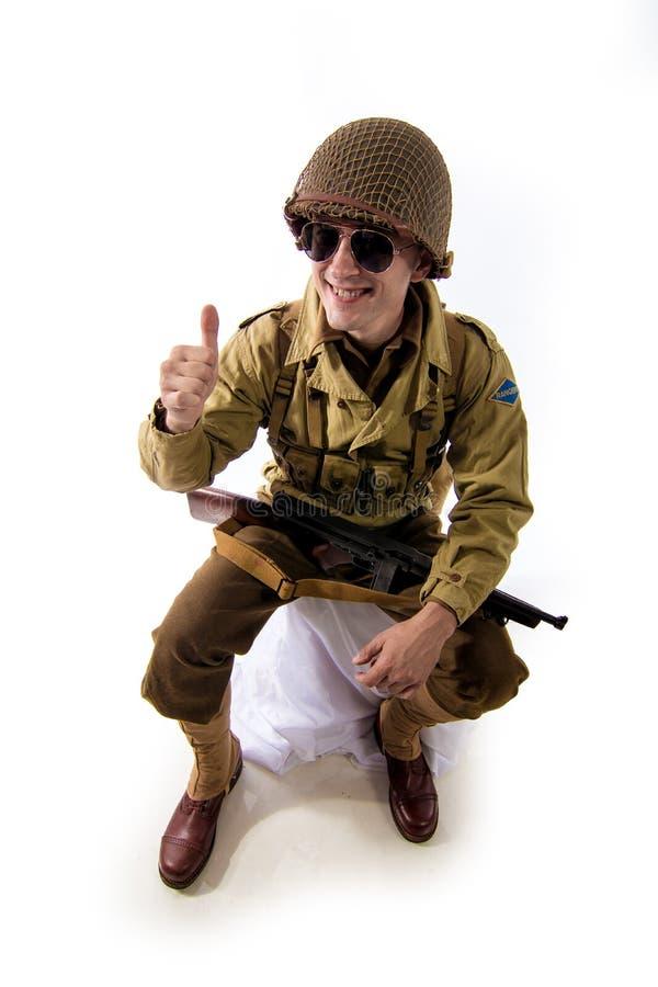 Mensenacteur in militaire eenvormig van Amerikaanse boswachter van Wereldoorlog IIperiode royalty-vrije stock foto