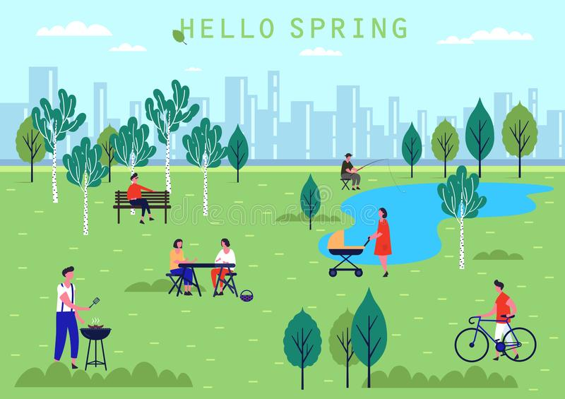 Mensenactiviteit bij de lentepark, vakantie en vrije tijd royalty-vrije illustratie