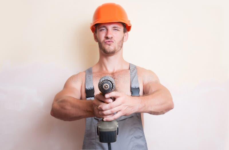 Mensenarbeider met een schroevedraaier royalty-vrije stock foto