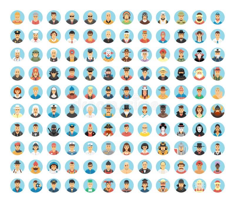 Mensenavatar inzameling Vlakke cirkelpictogrammen van mensen, beroepen, de werken Mensenportretten, beeldverhaalmensen, mensenlev vector illustratie