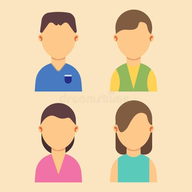 Mensenavatar mannen en vrouwenontwerp van de set van tekens het vlakke vectorillustratie Het portret van het Webbeeldverhaal royalty-vrije illustratie