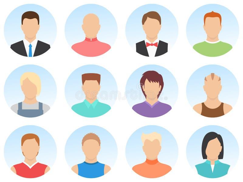 Mensenavatar reeks die op witte achtergrond wordt geïsoleerd Eenvoudige avatar van vormmensen Reeks mensenavatar pictogrammen Hoo vector illustratie