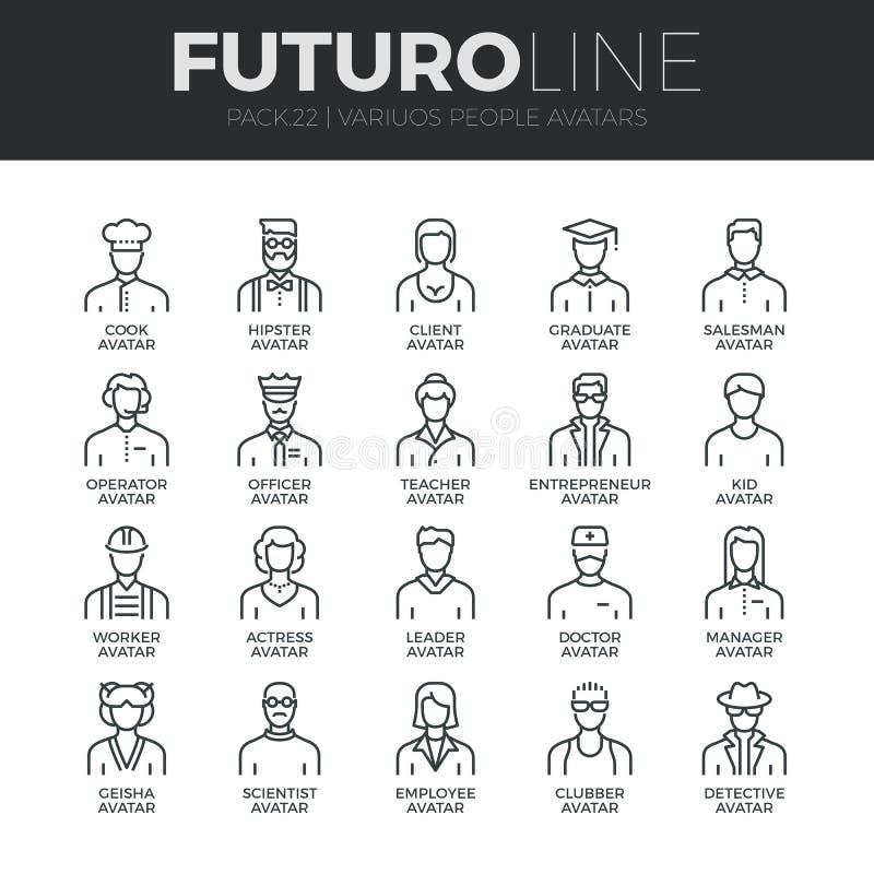 Mensenavatars Geplaatste de Lijnpictogrammen van Futuro stock illustratie