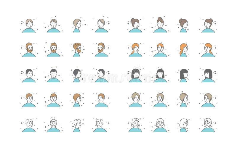 Mensenavatars Inzamelingsvector Standaardkaraktersavatar Beeldverhaallijn Art Illustration royalty-vrije illustratie