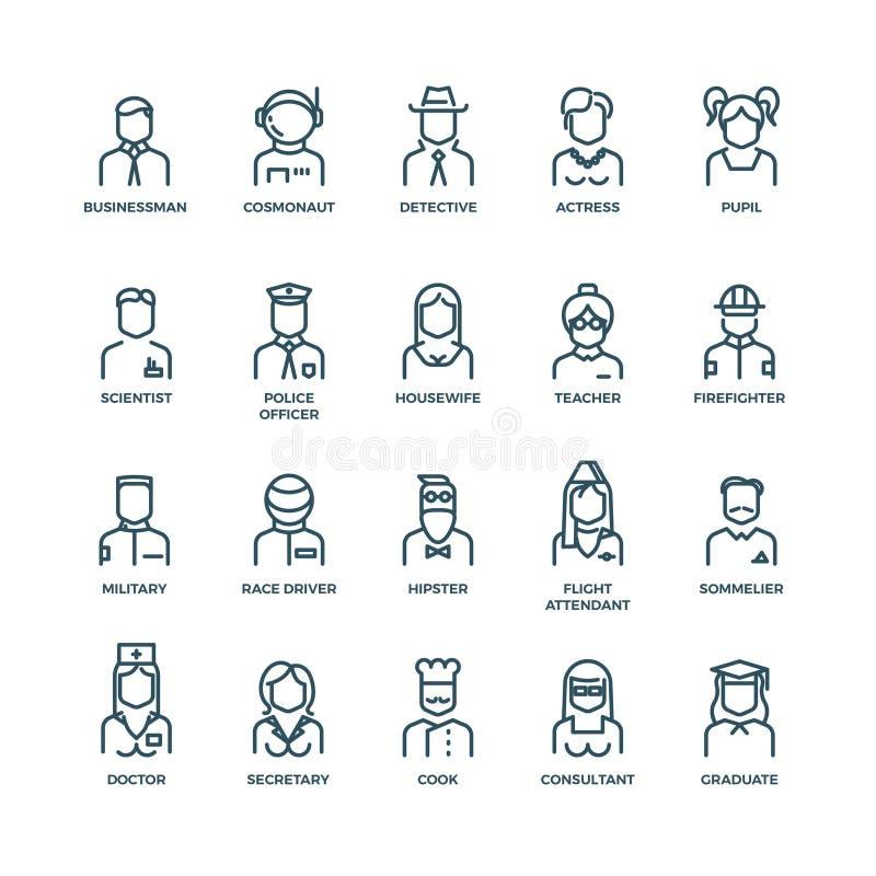 Mensenavatars, karakterspersoneel, beroepen Vector lineaire pictogrammen royalty-vrije illustratie