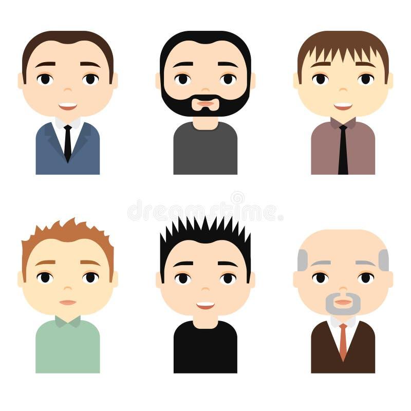 Mensenavatars met het Glimlachen gezichten wordt geplaatst dat Mannelijke beeldverhaalkarakters Zakenman De pictogrammen van mens stock illustratie