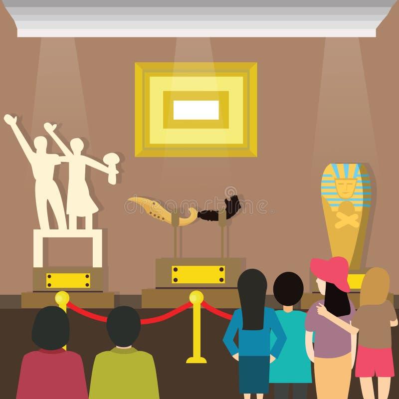 Mensenbezoeken aan museumbezoeker het kijken het schilderen en sclupture bij kunsttentoonstelling royalty-vrije illustratie