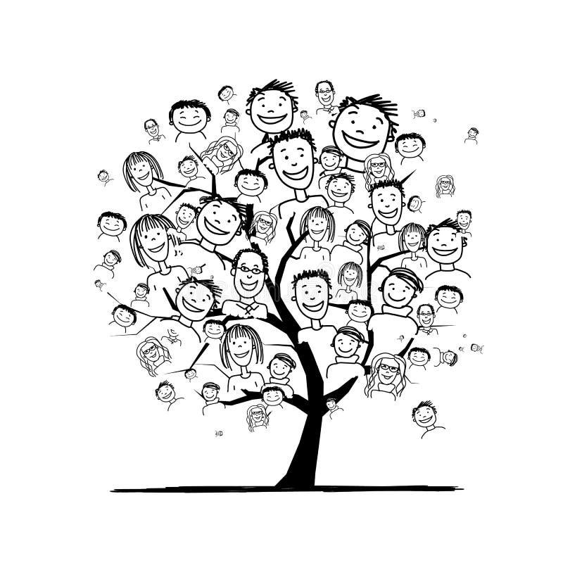 Mensenboom voor uw ontwerp royalty-vrije illustratie