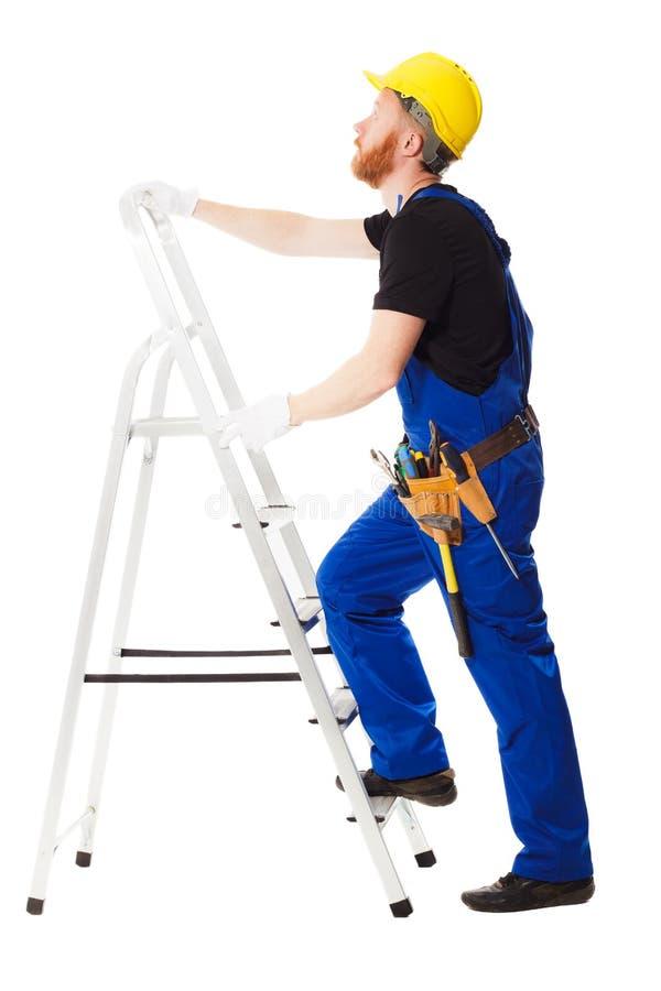Mensenbouwer in het blauwe uniform royalty-vrije stock fotografie