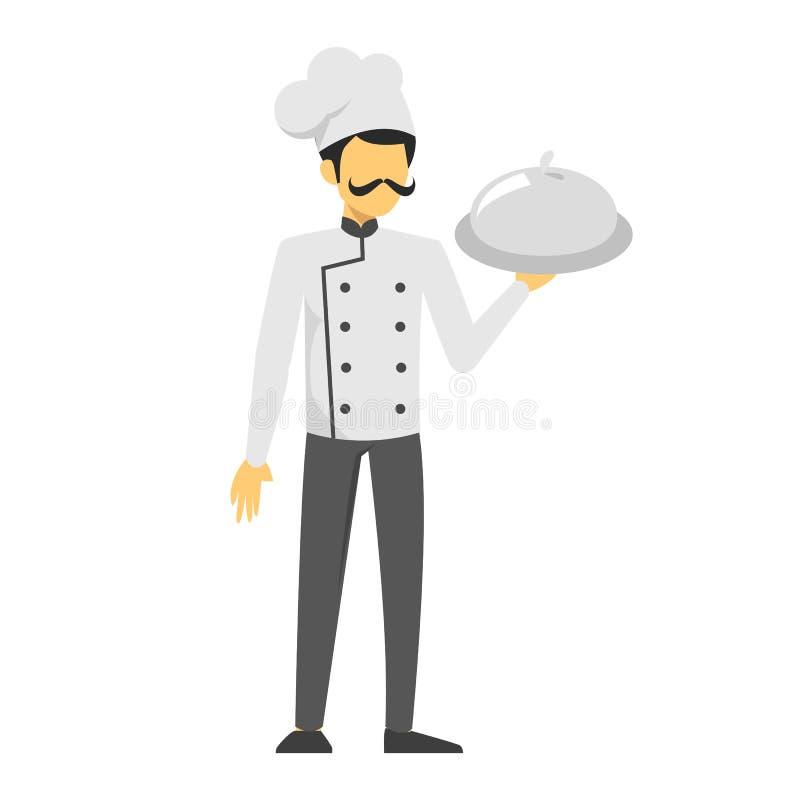 Mensenchef-kok in eenvormige holdingsschotel Knap mannetje stock illustratie