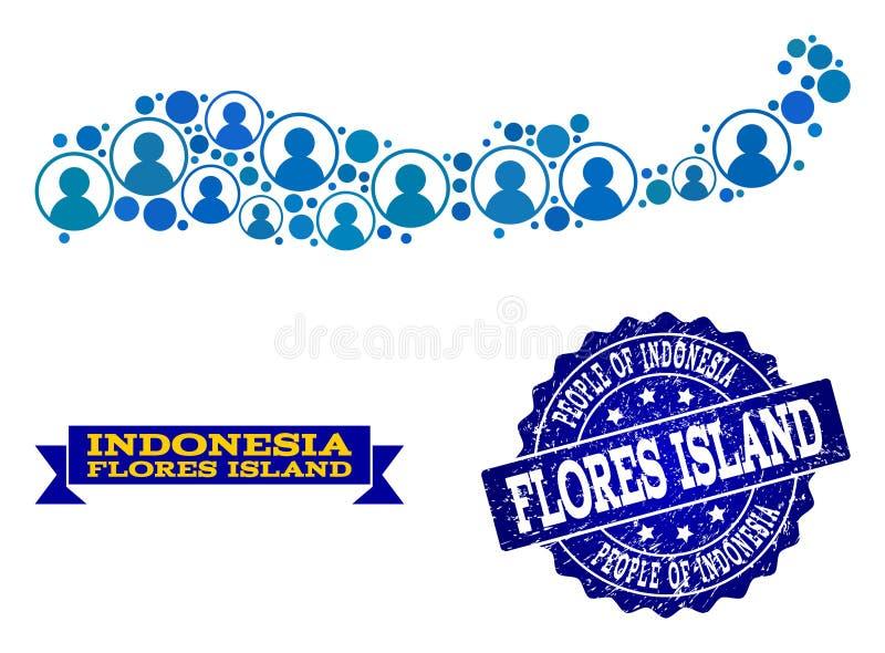 Mensencollage van Mozaïekkaart van Indonesië - Flores-Eiland en Grunge-Zegel royalty-vrije illustratie