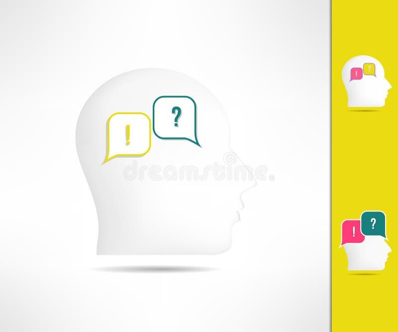 Mensenconflict in mening Psychologieconflict en dialoog Tegenstrijdige gedachten en het spreken mening royalty-vrije illustratie