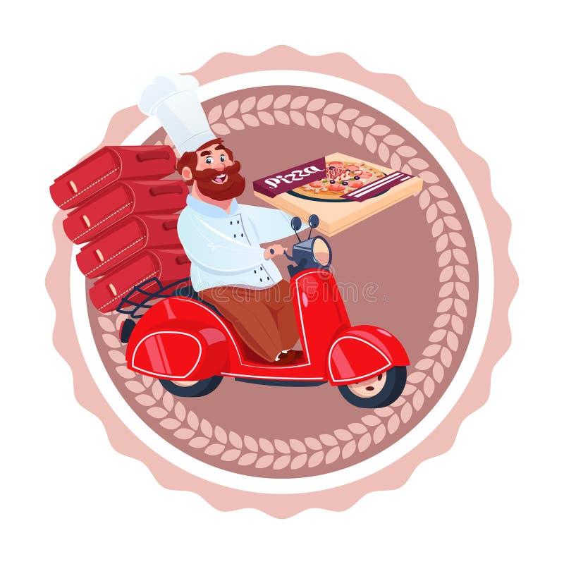 Mensencook Deliver Pizza Riding Retro van de het Voedsellevering van het Autopedrestaurant Geïsoleerd het Malplaatjeembleem Picto vector illustratie