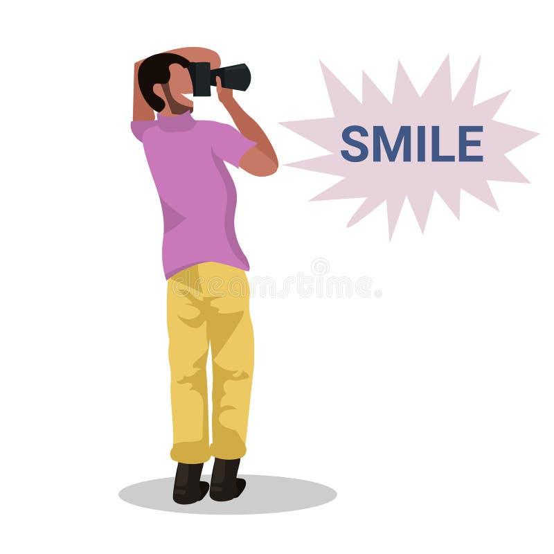 Mensenfotograaf die foto met camera Afrikaans Amerikaans karakter die en het mannelijke hoogtepunt van het beeldverhaalkarakter b stock illustratie