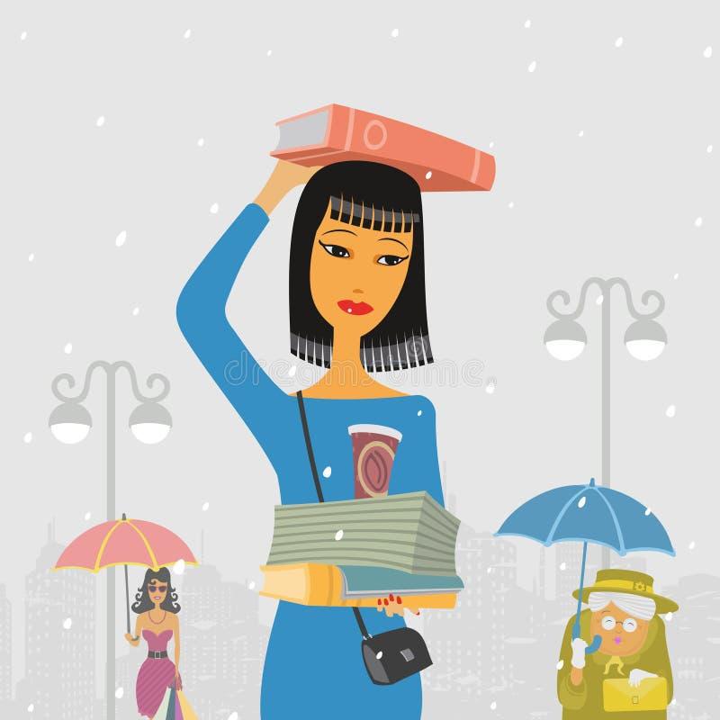 Mensengang in de Regen vector illustratie