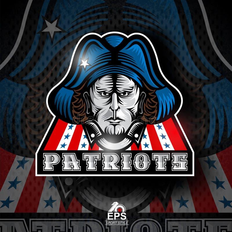 Mensengezicht met blauwe hoed Embleem voor om het even welk sportteam patriotes royalty-vrije illustratie