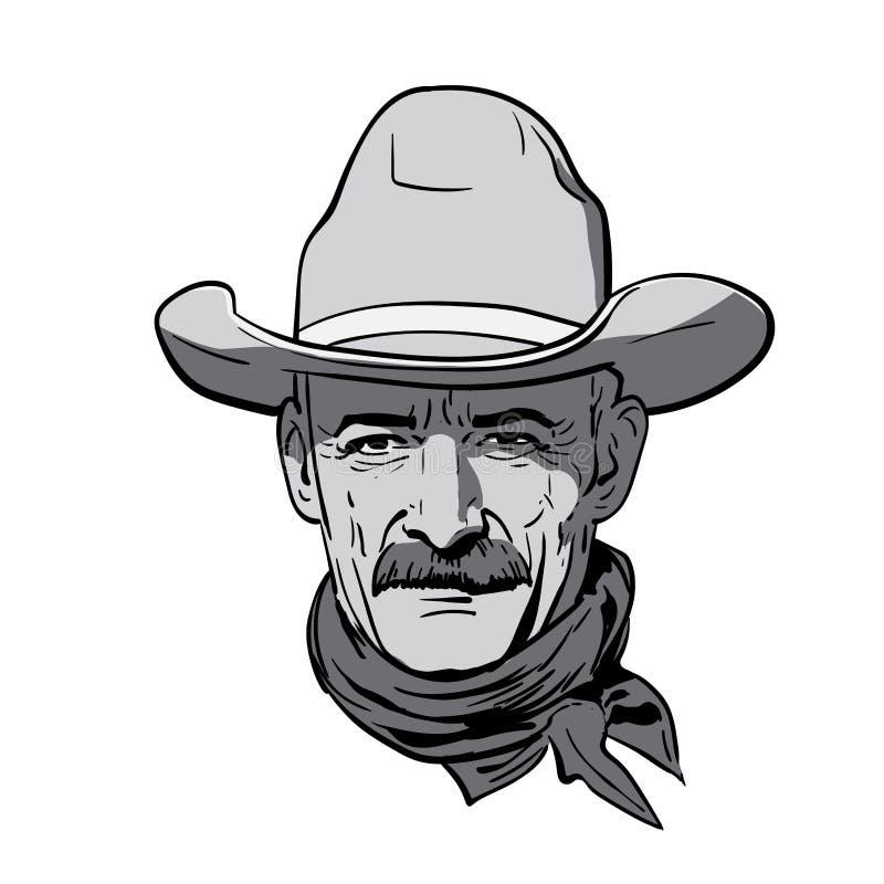 Mensengezicht met cowboyhoed westelijk Portret Digitale de Tekeningsvector van de Schetshand Illustratie vector illustratie