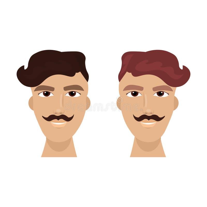 Mensengezicht met Modieus Kapsel en Snor Guy Hipster Isolated Icon stock illustratie