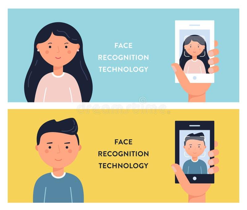 Mensengezichten en Smartphone-de Schermen De Technologie Vectorillustation van de gezichtserkenning stock illustratie