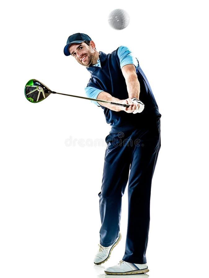 Mensengolfspeler golfing geïsoleerd met achtergrond stock fotografie
